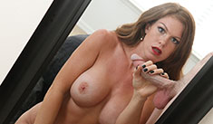Sexy big titted babe Ivy stroking big cock in front of a mirror so she can watch herself